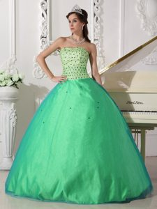 Spring Green Sweetheart Long Tulle Beaded Charming Dress for Quince