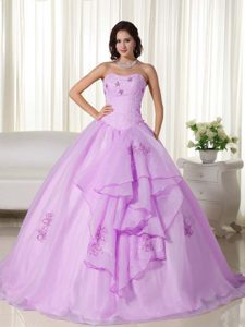 Lavender Beaded Organza Sweet Sixteen Quinceanera Dress with Embroidery