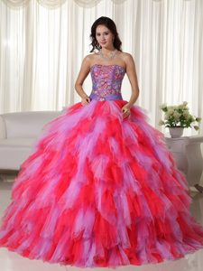 Fashionable Appliqued Tulle Lace-up Long Sweet Sixteen Dress in Multi-color