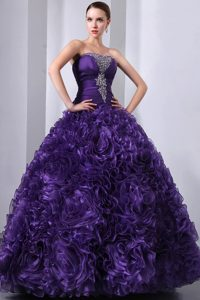 Strapless Long Organza Romantic Purple Sweet 16 Dresses with Flowers