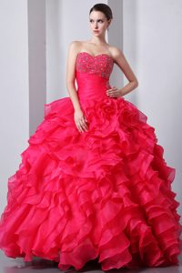Beautiful Beaded and Ruffled Lace-up Organza Sweet 15 Dress in Coral Red