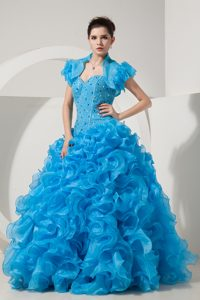 Classical Baby Blue Princess Sweetheart Long Quinceaneras Dresses