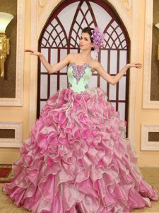 Green and Pink 2013 Popular Lace-up Quinceanera Gowns with Brush Train