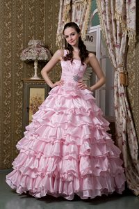 Exquisite One Shoulder Ruched and Beaded Long Quince Dresses in Baby Pink