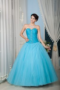 Fabulous Aqua Blue A-line Sweetheart Long Tulle Quinces Dress for Fall