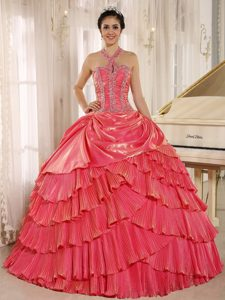 Wonderful Halter Top Watermelon Organza Quinceanera Dresses with Pleats