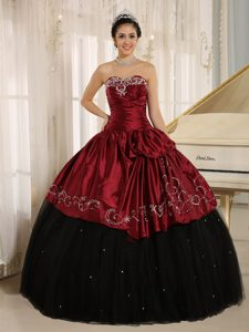 Black and Wine Red Embroidery Decorate Quinceanera Dress Custom Made