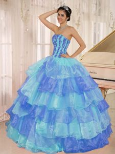 Latest Multi-color Layered Ruffles Quinceanera Dress with Appliques Decorate