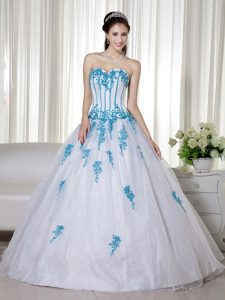 A-line Sweetheart White and Aqua Appliques Clearance Quinceanera Dress