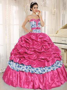 Hot Pink Sweetheart Full Skirt Pick-ups Multi-colored Print Quinceanera Dress