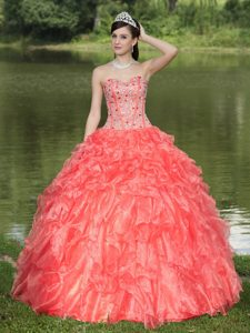 Beading and Ruffles Decorate Orange Red Sweetheart Quinceanera Gown