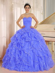 Unique Sequins Blue Quinceanera Ball Gown Dress with Ruffles Plus Size