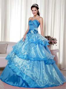 Sweetheart Organza Aqua Blue Beaded Birthday Dress for Sweet 16 in Spring