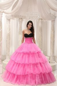 Ruffled Layers Black and Pink Sweetheart Quinceanera Dress with Beading
