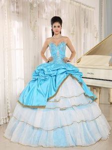 Beading Decorate Sweetheart Layered Ruffles Multi-color Quinceanera Dress