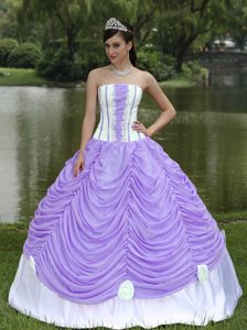 Lavender and White Ruffled Strapless Quinceanera Dress with Handle Flowers