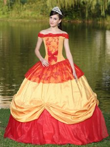Multi-color Off the Shoulder Ball Gown with Appliques for Quinceanera Birthday