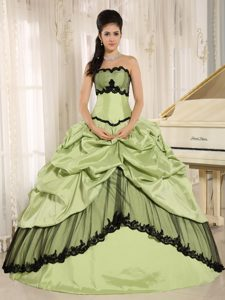 Strapless Yellow Green and Black Quinceanera Dress with Appliques Pick-ups