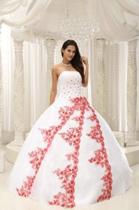 White and Red Strapless Beading and Appliques Quinceanera Ball Gown