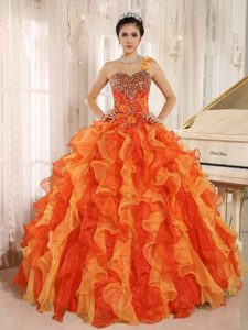 One Shoulder Beaded Bodice Multi-color Ruffled Quinceanera Dress for Girls