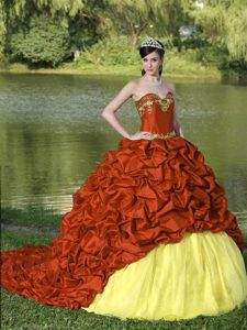 Brush Train Appliques and Pick-ups Multi-colored Quinceanera Dress Discount