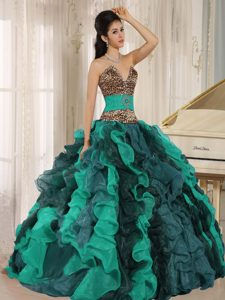 Leopard Print Multi-color Ruffled Quinceanera Dress with Beading Decoration