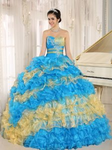 Teal and Yellow Full Skirt Layered Ruffles Quinceanera Dress with Appliques