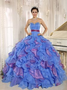 Multi-color Sweetheart Puffy Quinceanera Dress with Beading and Ruffles