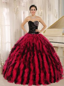 Black and Red Ruffled Ball Gown Sweetheart Quinceanera Dress Beaded