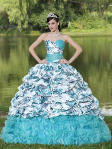 Beading and Pick-ups Multi-colored Print Quinceanera Dress Sweetheart