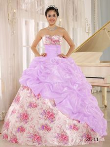 Sweetheart Print Multi-colored Sweet 16 Quinceanera Dress with Pick-ups