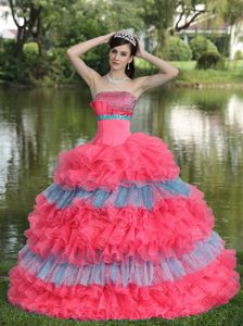 Multi-color Layered Ruffles Sequins Strapless Quinceanera Dress for 2004