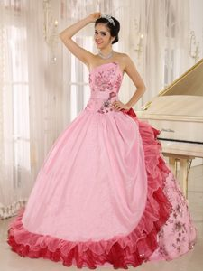 Asymmetrical Beading and Embroidery Quinceanera Dress Multi-colored