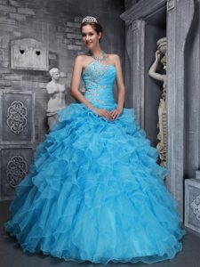 Beading and Ruffles Sweetheart Aqua Blue Quinceanera Gown Custom Made