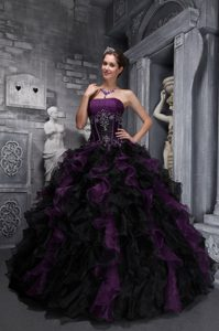 Strapless Ball Gown Black and Purple Ruffled Quinceanera Dress Appliqued
