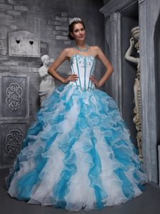 Aqua Blue and White Sweetheart Quinceanera Dress with Appliques Ruffles