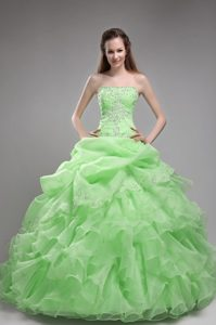 Lime Green Ball Gown Beading and Ruffles Decoration Quinceanera Dress