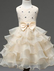 Clearance Scoop Champagne Organza Zipper Toddler Flower Girl Dress Sleeveless Mini Length Beading and Ruffled Layers