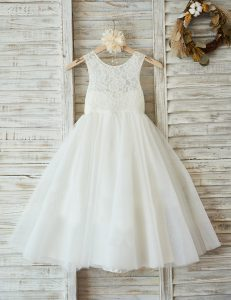 Glittering Scoop Sleeveless Flower Girl Dress Floor Length Lace White Tulle
