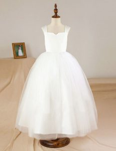 White Sleeveless Tulle Zipper Flower Girl Dresses for Party and Wedding Party