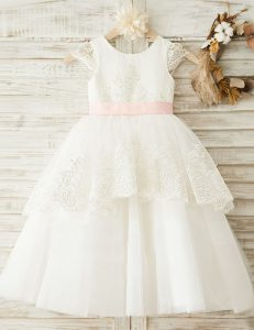 Admirable Scoop Cap Sleeves Organza Toddler Flower Girl Dress Lace and Appliques and Bowknot Zipper