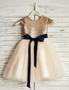 Scoop Champagne A-line Sashes ribbons and Sequins Toddler Flower Girl Dress Zipper Tulle Sleeveless Mini Length