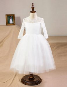 Customized Scoop Lace Toddler Flower Girl Dress White Clasp Handle Half Sleeves Floor Length