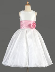 White Zipper Scoop Bowknot and Hand Made Flower Flower Girl Dress Taffeta Sleeveless