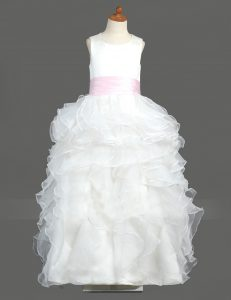 Edgy Scoop Sleeveless Zipper Floor Length Ruffled Layers Flower Girl Dress