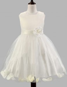Inexpensive A-line Toddler Flower Girl Dress White Scoop Tulle Sleeveless Floor Length Zipper