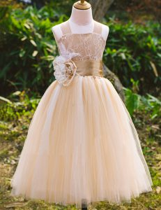 Champagne A-line Straps Sleeveless Tulle Floor Length Lace Up Lace Toddler Flower Girl Dress