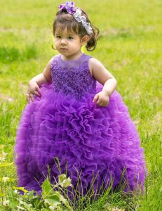 Free and Easy Scoop Lavender Ball Gowns Lace and Ruffles Toddler Flower Girl Dress Lace Up Organza Sleeveless Floor Leng