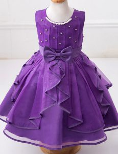 Deluxe Organza Scoop Sleeveless Zipper Beading and Ruffles and Bowknot Flower Girl Dresses in Eggplant Purple