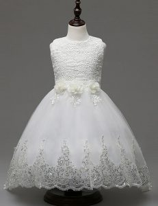 White Zipper Scoop Lace and Appliques and Bowknot Toddler Flower Girl Dress Organza Sleeveless Brush Train